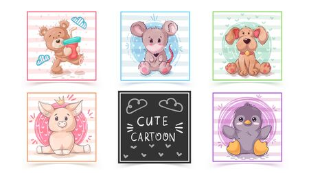 Set cute animals - idea for print t-shirt
