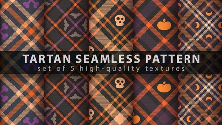 Set halloween tartan seamless pattern