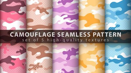 Set pixel camouflage military seamless pattern