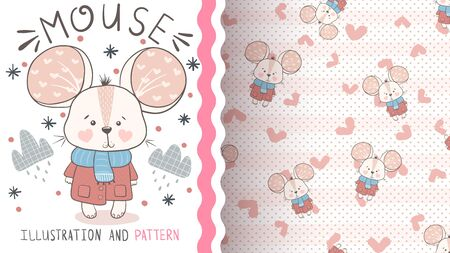 Pretty baby mouse - seamless pattern 向量圖像