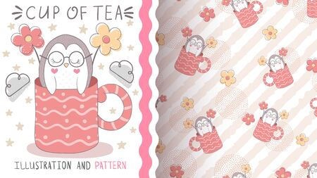 Penguin with flower - seamless pattern 向量圖像