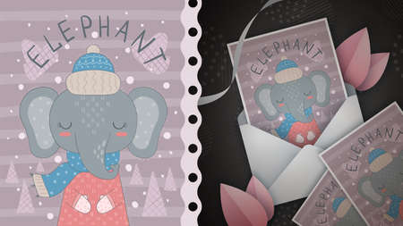 Cute elephant idea for greeting card.