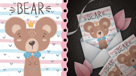 Princess bear idea for greeting card.