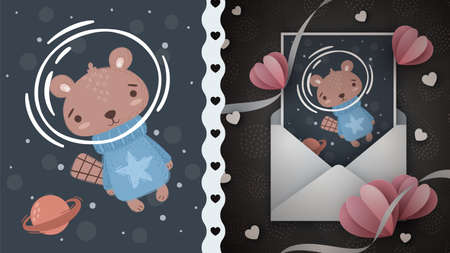 Space beaver idea for greeting card 向量圖像