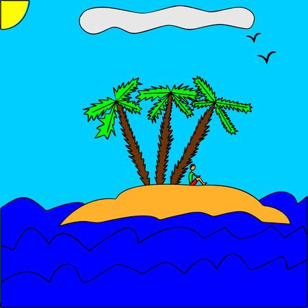desert island: Illustration of an desert island Stock Photo