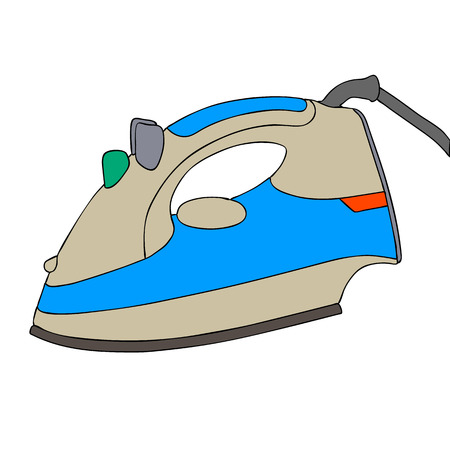 steam iron: Electrical iron, iron isolated, iron vector illustration, clothes iron, steam iron. Steam iron icon Stock Photo