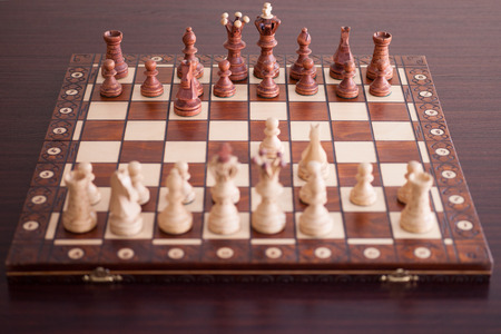 chess board: Wooden chess board with figures
