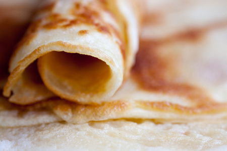 caloric: The fresh delicious pancakes on a plate Stock Photo