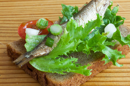 sprats: sprats on the bread closeup