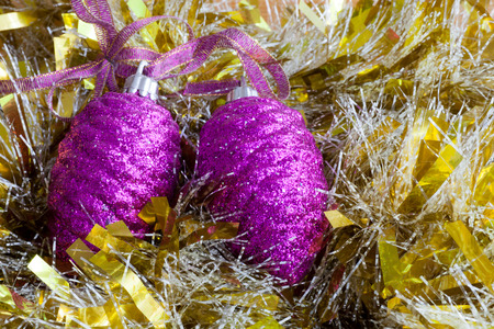 the tinsel: Christmas decorations on the tinsel Stock Photo