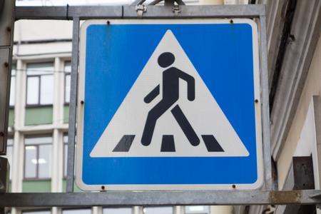 Pedestrian crossing traffic sign
