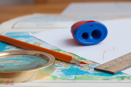 map pencil: Map, pencil and magnifying glass