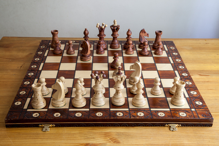 chessman: chess pieces on the chessboard Stock Photo