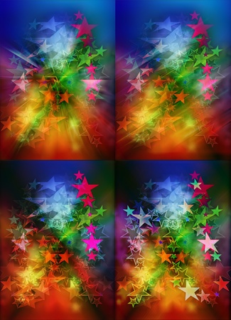Colorful bokeh star lights on blue and red background Stock Photo - 10087085