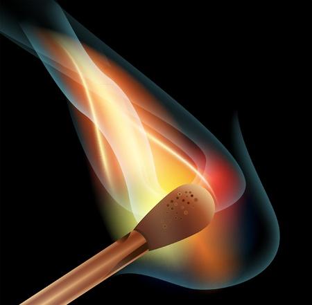 potential: Illustration of burning matchstick on black background  Illustration