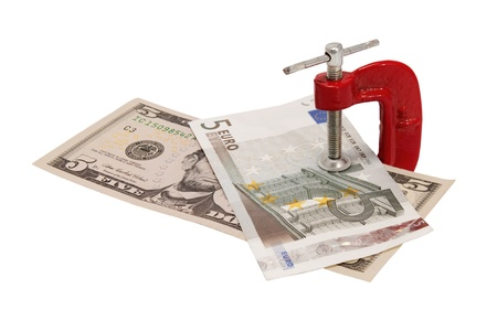 clamped: Dollars and euros clamped to clamp isolated on white background