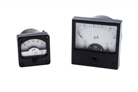 ammeter: Analog ammeter industrial isolated on white  Stock Photo