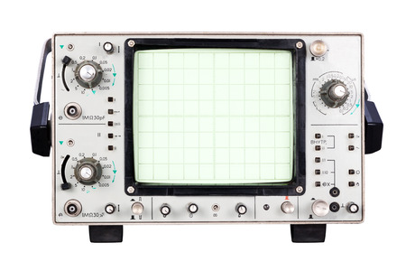 oscilloscope: two-channel high-frequency oscilloscope Isolated on white background Stock Photo