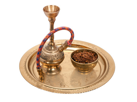 bronze bowl: Hookah l and bowl with tobacco on a round bronze tray