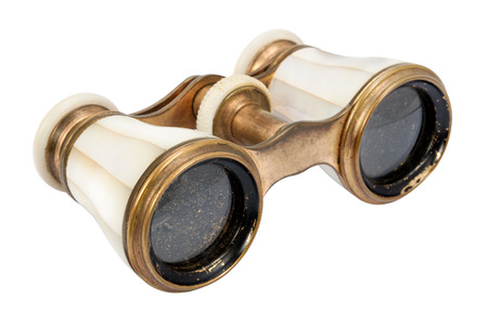 antique binoculars: Old opera glasses isolated on a white background