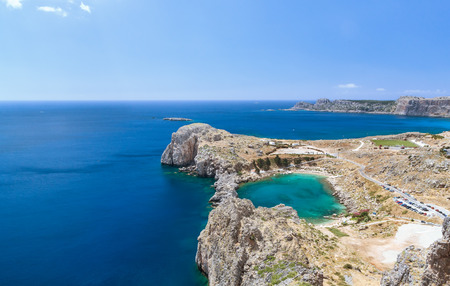 Bay of the Apostle Paul in the form of heart with green water of Rhodes, Greece