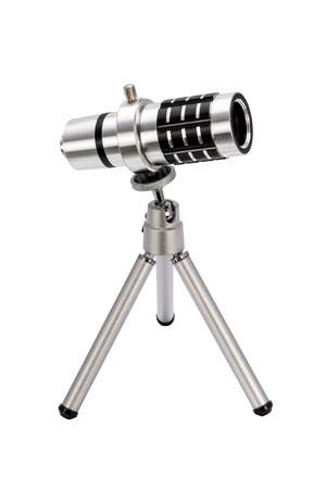 approximation: Telephoto lens for  smartphone on a tripod isolated on white background