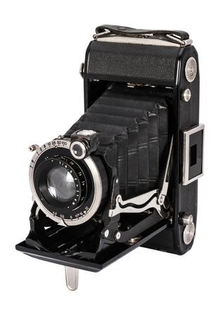 Old large format camera isolated on white background