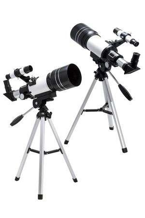 two images of the telescope from different angles isolated on white background