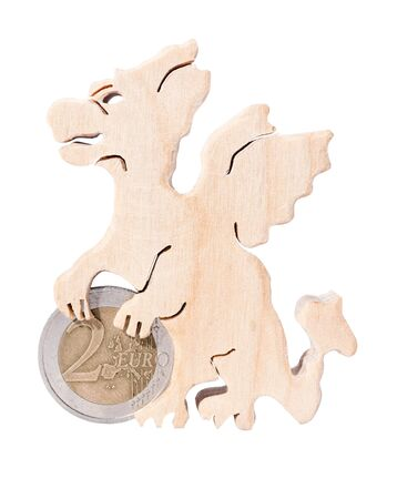 stand for coins in the form of a dragon isolated on a white background 스톡 콘텐츠 - 149713899
