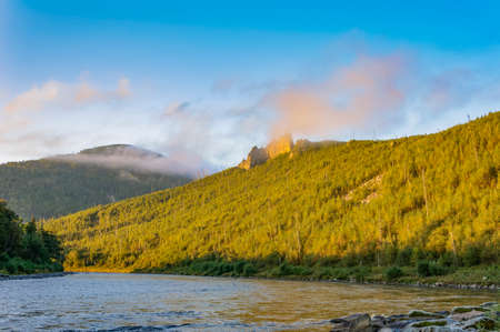 fluvial: Mountain River Anuy. Mountain River in the northeast of Khabarovsk Krai, Russia. Stock Photo
