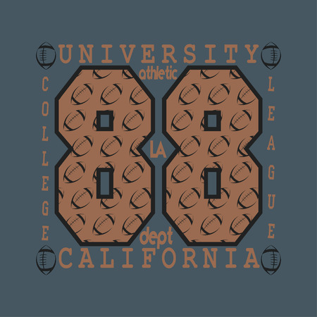 ca: Los Angeles CA,fashion Typography, sport emblem design, Number with floral ornament, graphic Print label