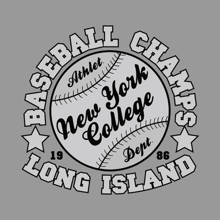 jersey: T-shirt baseball, new york, college, long island, design, fashion, typography, graphics, stylish printing design for sportswear apparel. original wear. Concept in modern style for print production