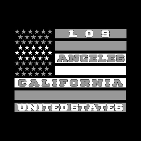 textile industry: Los Ageles, California, a printing house with an American flag, shirt, fashion, graphic. original graphic style, wallpaper, textile, industry, book design, web site, and other printed matter Illustration