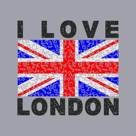 I love London City, typography, graphics, British flag, illustration, design, graphic design, fashion, sports, shirt, sign