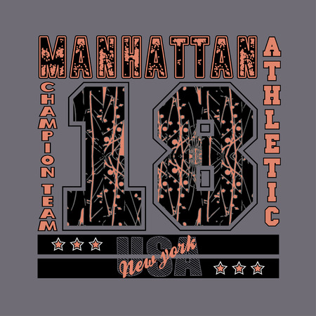 athletic wear: manhattan, new york, athletic, fashion Typography, sport emblem design, Number with floral ornament, graphic Print label