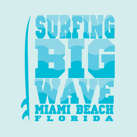 miami florida: surfing, Miami Beach, Florida, surfing T-shirt, T-shirt inscription, typography, graphic design, emblem Illustration