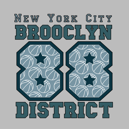jersey: New York basketball, fashion Typography, sport emblem design, Number with floral ornament, graphic Print label