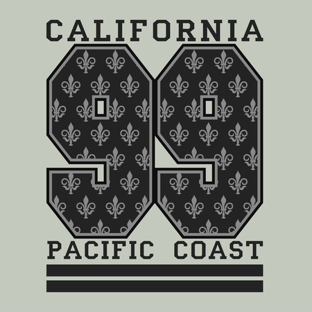 athletic wear: Los Angeles CA, pacific coast, fashion Typography, sport emblem design, Number with floral ornament, graphic Print label