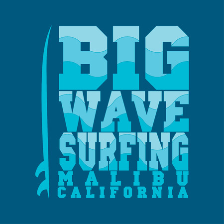 miami south beach: surfing, Malibu, California, surfing T-shirt, T-shirt inscription, typography, graphic design, emblem