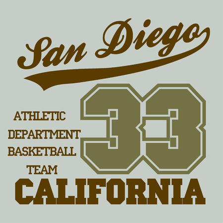 athletic wear: San Diego CA, fashion Typography, sport emblem design, Number with floral ornament, graphic Print label