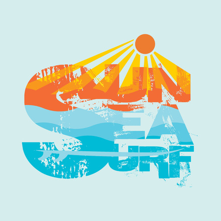 logo voyage: Surf Miami Beach, Floride surf t-shirts, T-shirt inscription typographie, conception graphique, emblème Illustration