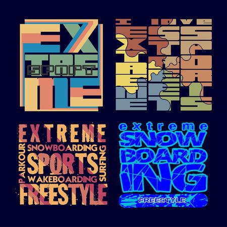 extreme sports: set T-shirt extreme sports, design, fashion, typography, stylish printing design for sports wear apparel. original, Illustration