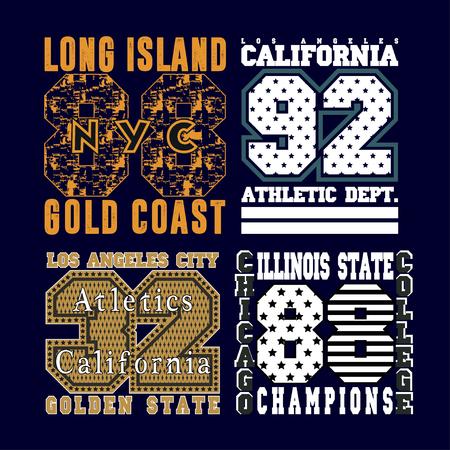 athletic wear: set typography t-shirts, graphic design, printing, original design, clothing design, graphic design Illustration