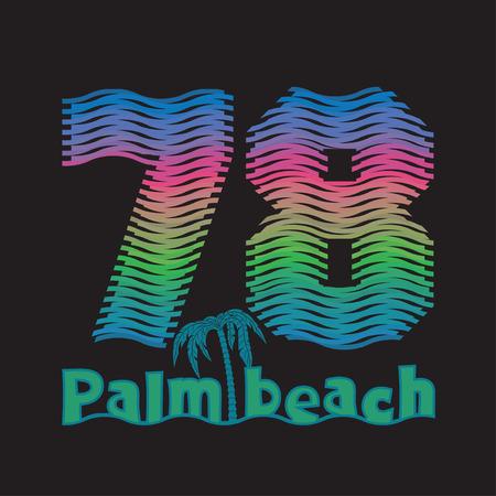 miami south beach: palm beach, Miami Beach, Florida surfing t-shirts, T-shirt inscription, typography graphic design emblem