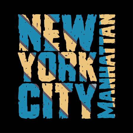 New York typography, t-shirt  manhattan, design graphic,  printing man NYC, original design clothing, clothing, graphic design, emblem Stock Vector - 53165128