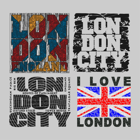 athletic wear: set T-shirt  London, design, fashion, typography, graphics, stylish printing design for sports wear apparel. original wear. Concept in modern style for print production Illustration