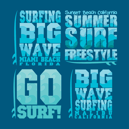miami south beach: set summer surfing, typography surfing, t-shirts sport