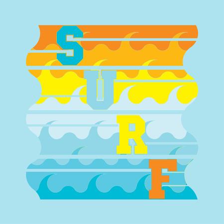 miami florida: surf Miami Beach, Florida surfing t-shirts, T-shirt inscription, typography, graphic design emblem Illustration