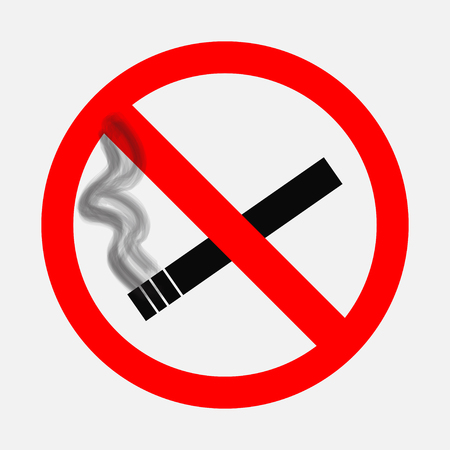 pernicious habit: Prohibiting signs, No smoking sign, on a white background, editable image