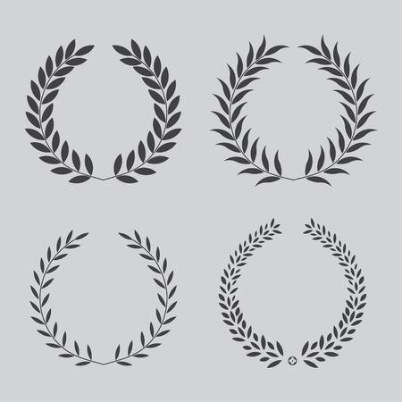 black wreath: set icon laurel wreath - illustration Black Illustration